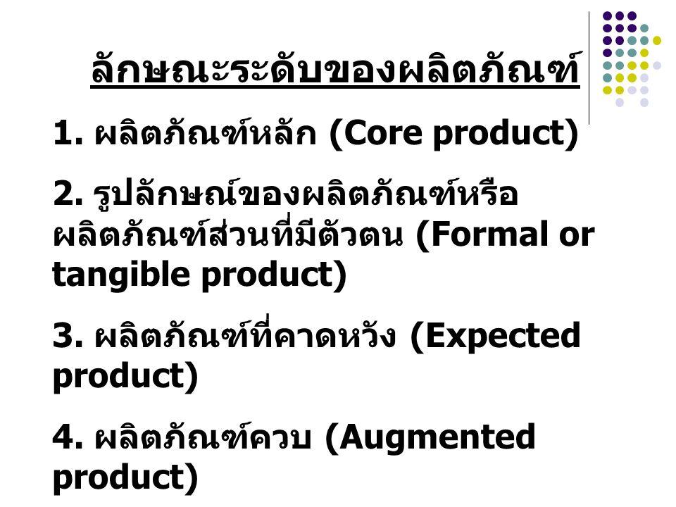 ลักษณะระดับของผลิตภัณฑ์ 1. ผลิตภัณฑ์หลัก (Core product) 2. รูปลักษณ์ของผลิตภัณฑ์หรือ ผลิตภัณฑ์ส่วนที่มีตัวตน (Formal or tangible product) 3. ผลิตภัณฑ์