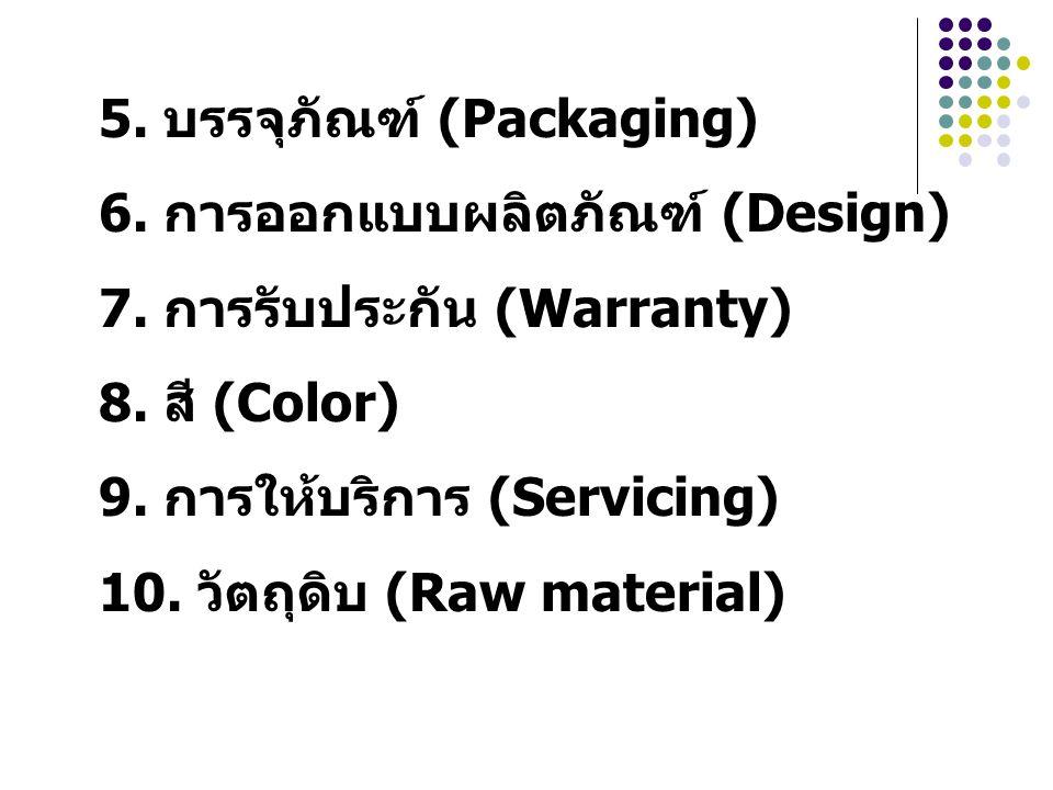 5. บรรจุภัณฑ์ (Packaging) 6. การออกแบบผลิตภัณฑ์ (Design) 7. การรับประกัน (Warranty) 8. สี (Color) 9. การให้บริการ (Servicing) 10. วัตถุดิบ (Raw materi