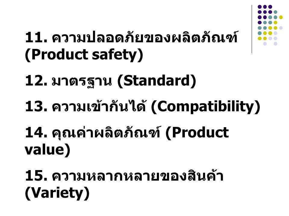 11. ความปลอดภัยของผลิตภัณฑ์ (Product safety) 12. มาตรฐาน (Standard) 13. ความเข้ากันได้ (Compatibility) 14. คุณค่าผลิตภัณฑ์ (Product value) 15. ความหลา