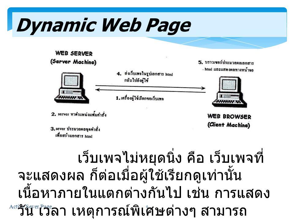 Active Sever Page 6 Dynamic Web Page เว็บเพจไม่หยุดนิ่ง คือ เว็บเพจที่ จะแสดงผล ก็ต่อเมื่อผู้ใช้เรียกดูเท่านั้น เนื้อหาภายในแตกต่างกันไป เช่น การแสดง