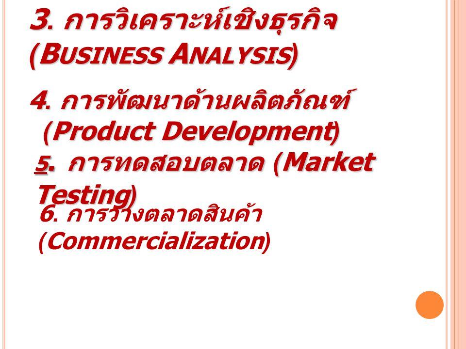 3. การวิเคราะห์เชิงธุรกิจ (B USINESS A NALYSIS ) 4. การพัฒนาด้านผลิตภัณฑ์ (Product Development) 8 5. การทดสอบตลาด (Market Testing) 6. การวางตลาดสินค้า