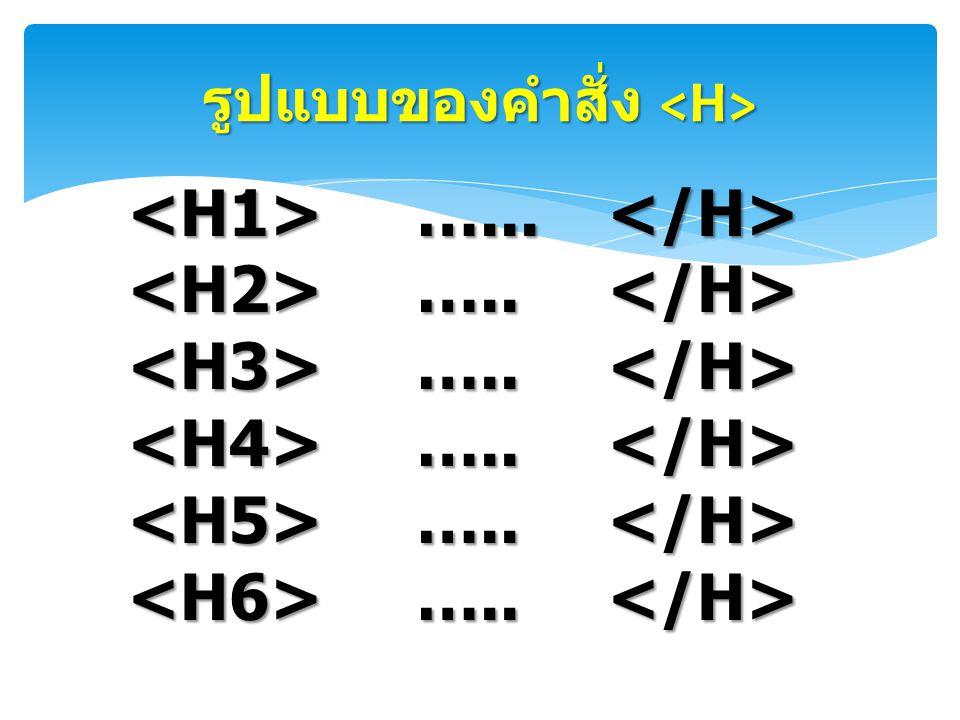 รูปแบบของคำสั่ง รูปแบบของคำสั่ง …... …... ….. …..