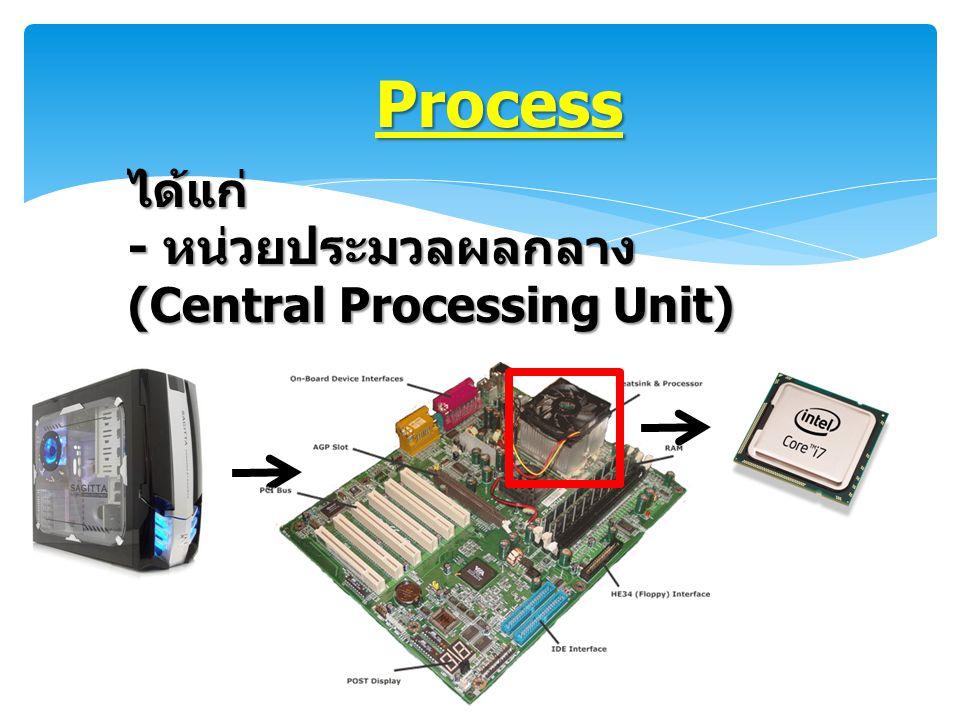 Process ได้แก่ - หน่วยประมวลผลกลาง (Central Processing Unit)