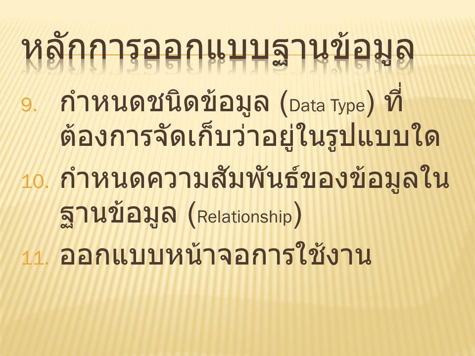 9. กำหนดชนิดข้อมูล ( Data Type ) ที่ ต้องการจัดเก็บว่าอยู่ในรูปแบบใด 10. กำหนดความสัมพันธ์ของข้อมูลใน ฐานข้อมูล ( Relationship ) 11. ออกแบบหน้าจอการใช