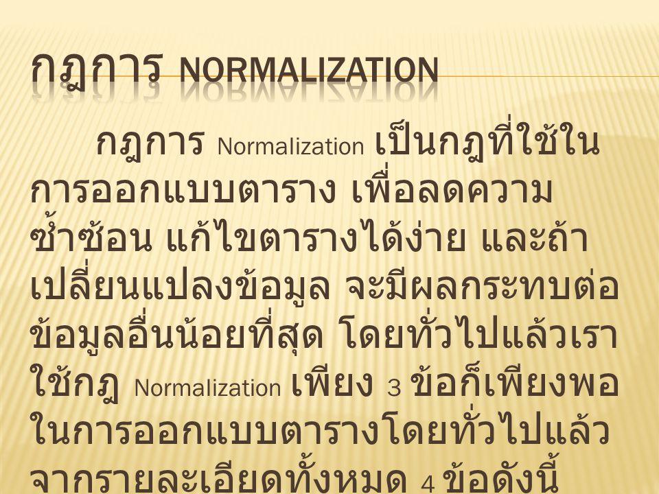 กฎการ Normalization เป็นกฎที่ใช้ใน การออกแบบตาราง เพื่อลดความ ซ้ำซ้อน แก้ไขตารางได้ง่าย และถ้า เปลี่ยนแปลงข้อมูล จะมีผลกระทบต่อ ข้อมูลอื่นน้อยที่สุด โ