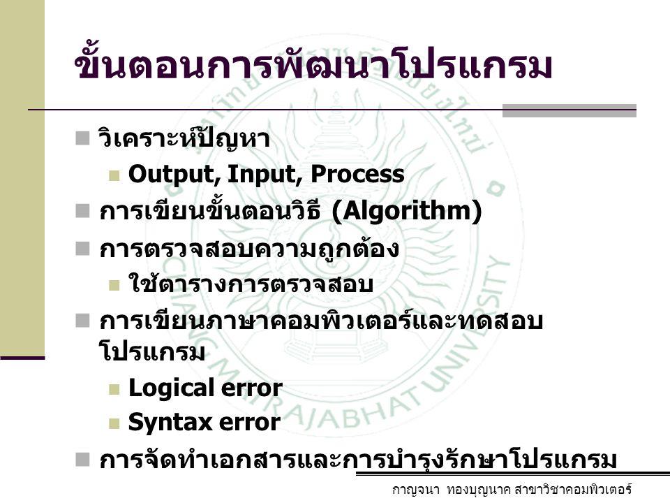 ขั้นตอนการพัฒนาโปรแกรม กาญจนา ทองบุญนาค สาขาวิชาคอมพิวเตอร์ วิเคราะห์ปัญหา Output, Input, Process การเขียนขั้นตอนวิธี (Algorithm) การตรวจสอบความถูกต้อ