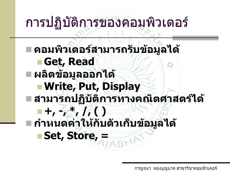การปฏิบัติการของคอมพิวเตอร์ คอมพิวเตอร์สามารถรับข้อมูลได้ Get, Read ผลิตข้อมูลออกได้ Write, Put, Display สามารถปฏิบัติการทางคณิตศาสตร์ได้ +, -, *, /,