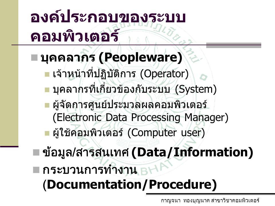 องค์ประกอบของระบบ คอมพิวเตอร์ บุคคลากร (Peopleware) เจ้าหน้าที่ปฏิบัติการ (Operator) บุคลากรที่เกี่ยวข้องกับระบบ (System) ผู้จัดการศูนย์ประมวลผลคอมพิว