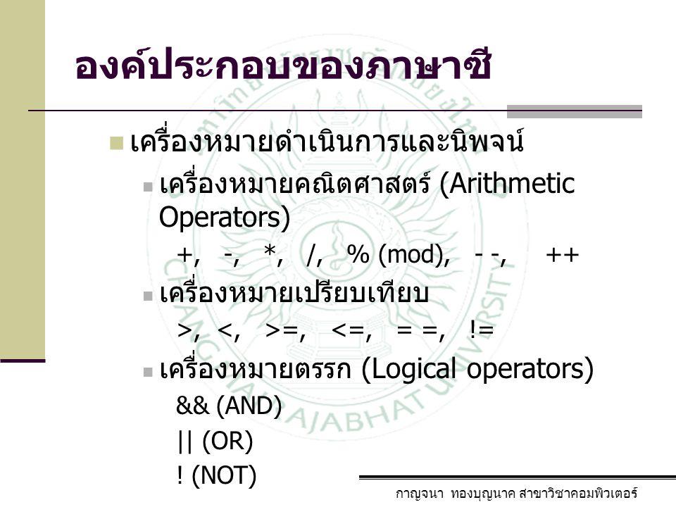 องค์ประกอบของภาษาซี กาญจนา ทองบุญนาค สาขาวิชาคอมพิวเตอร์ เครื่องหมายดำเนินการและนิพจน์ เครื่องหมายคณิตศาสตร์ (Arithmetic Operators) +, -, *, /, % (mod