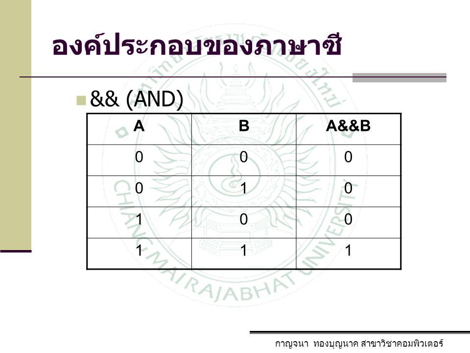 องค์ประกอบของภาษาซี กาญจนา ทองบุญนาค สาขาวิชาคอมพิวเตอร์ && (AND) ABA&&B 000 010 100 111