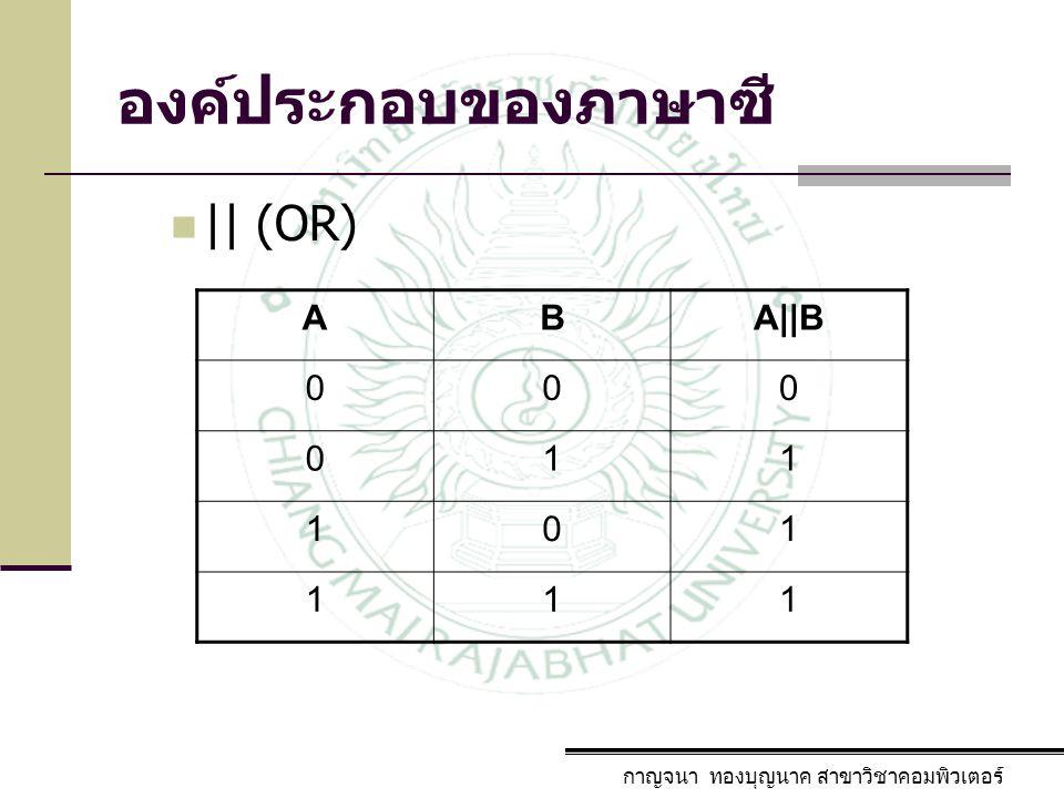 องค์ประกอบของภาษาซี กาญจนา ทองบุญนาค สาขาวิชาคอมพิวเตอร์ || (OR) ABA||B 000 011 101 111