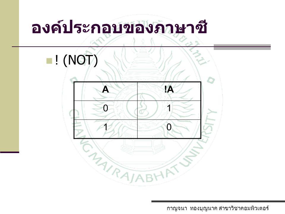 องค์ประกอบของภาษาซี กาญจนา ทองบุญนาค สาขาวิชาคอมพิวเตอร์ ! (NOT) A!A 01 10