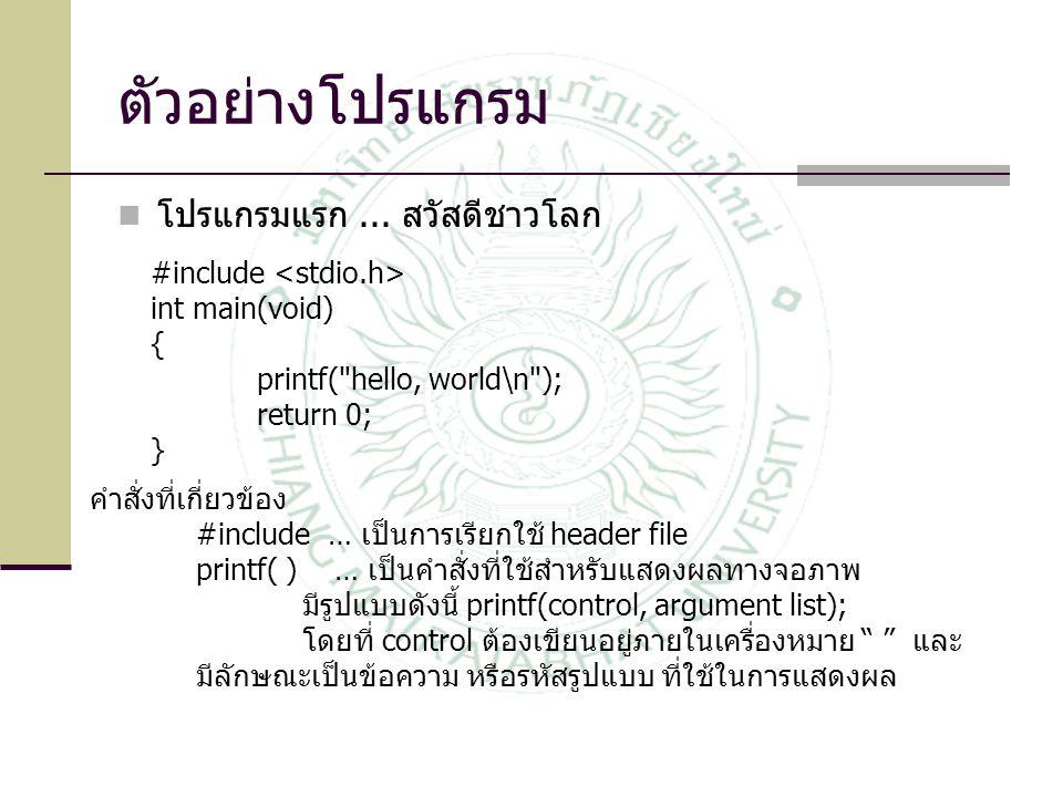 ตัวอย่างโปรแกรม โปรแกรมแรก... สวัสดีชาวโลก #include int main(void) { printf(