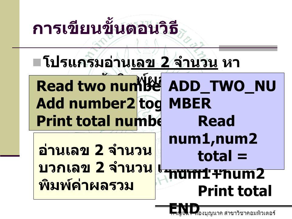 การเขียนขั้นตอนวิธี โปรแกรมอ่านเลข 2 จำนวน หา ผลรวมแล้วพิมพ์ผลรวม กาญจนา ทองบุญนาค สาขาวิชาคอมพิวเตอร์ Read two numbers Add number2 together Print tot