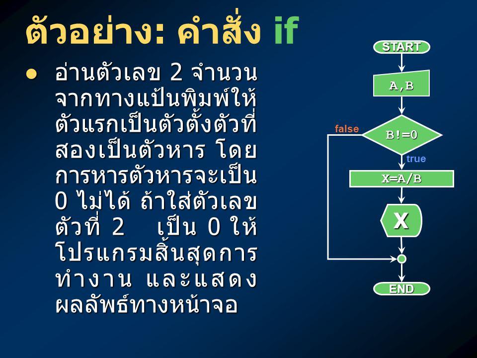 ตัวอย่าง : คำสั่ง if อ่านตัวเลข 2 จำนวน จากทางแป้นพิมพ์ให้ ตัวแรกเป็นตัวตั้งตัวที่ สองเป็นตัวหาร โดย การหารตัวหารจะเป็น 0 ไม่ได้ ถ้าใส่ตัวเลข ตัวที่ 2
