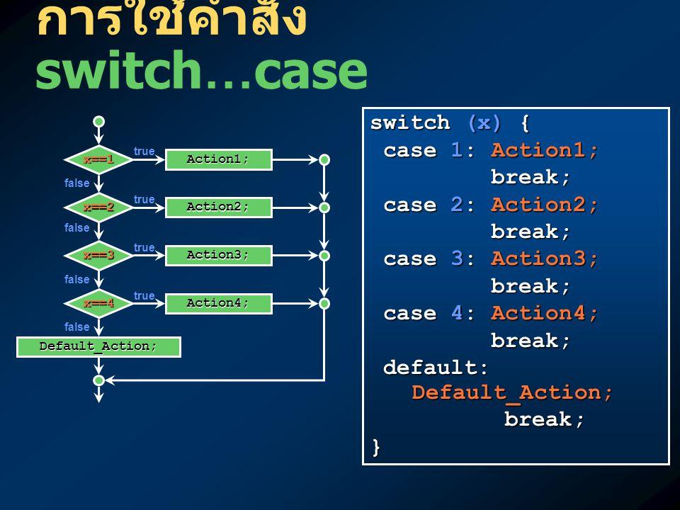 การใช้คำสั่ง switch…case switch (x) { case 1: Action1; case 1: Action1; break; break; case 2: Action2; case 2: Action2; break; break; case 3: Action3;