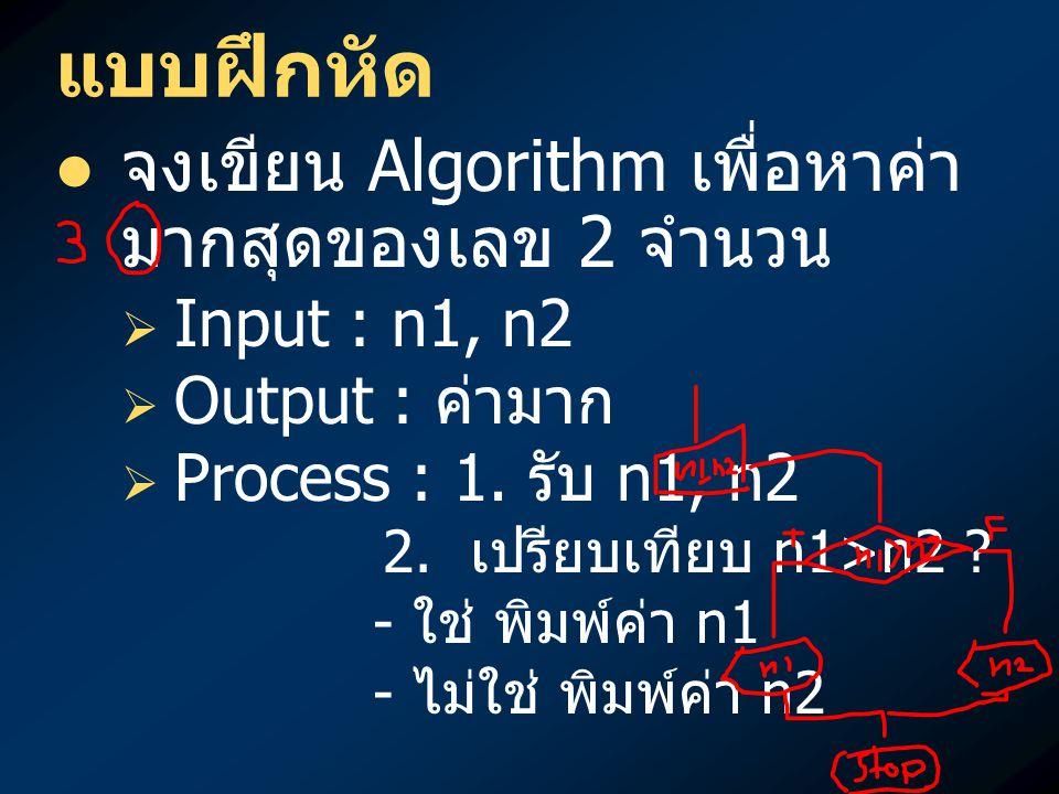 แบบฝึกหัด จงเขียน Algorithm เพื่อหาค่า มากสุดของเลข 2 จำนวน   Input : n1, n2   Output : ค่ามาก   Process : 1. รับ n1, n2 2. เปรียบเทียบ n1>n2 ?