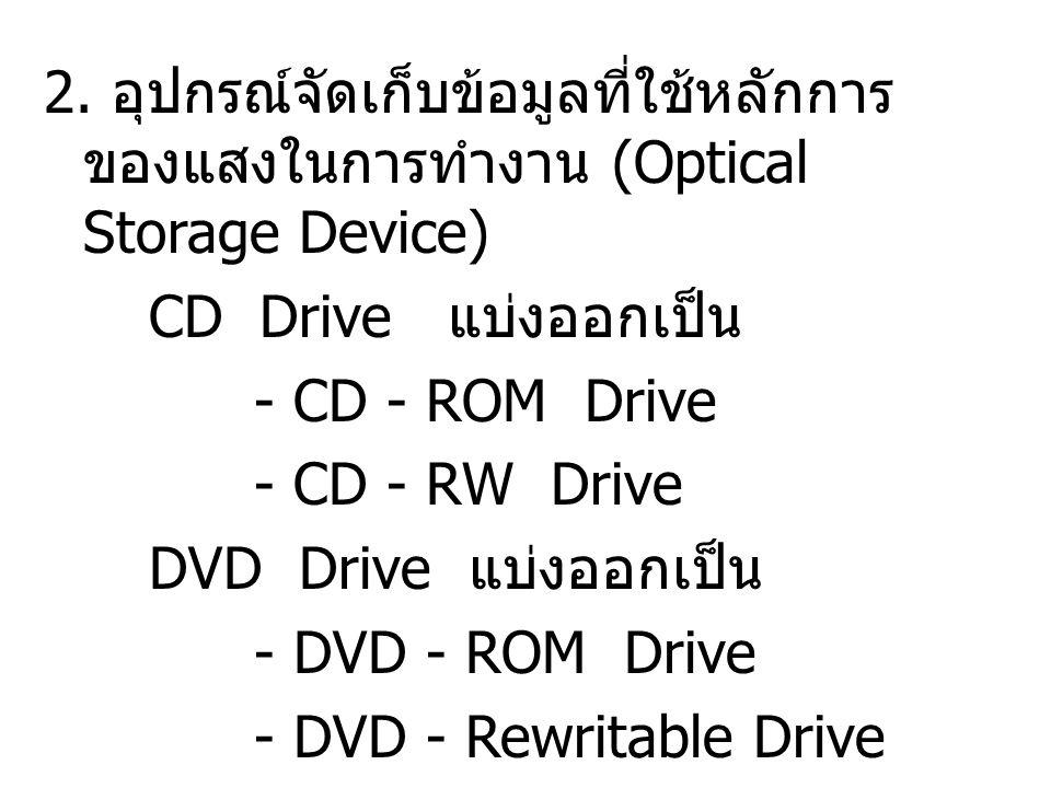 2. อุปกรณ์จัดเก็บข้อมูลที่ใช้หลักการ ของแสงในการทำงาน (Optical Storage Device) CD Drive แบ่งออกเป็น - CD - ROM Drive - CD - RW Drive DVD Drive แบ่งออก