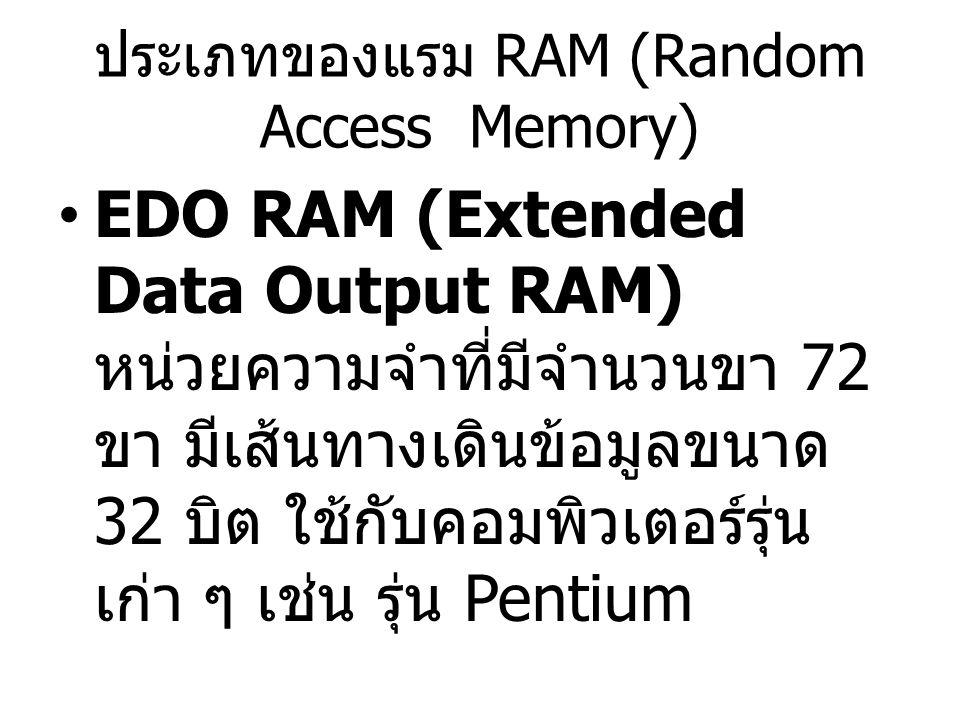 ประเภทของแรม RAM (Random Access Memory) EDO RAM (Extended Data Output RAM) หน่วยความจำที่มีจำนวนขา 72 ขา มีเส้นทางเดินข้อมูลขนาด 32 บิต ใช้กับคอมพิวเต