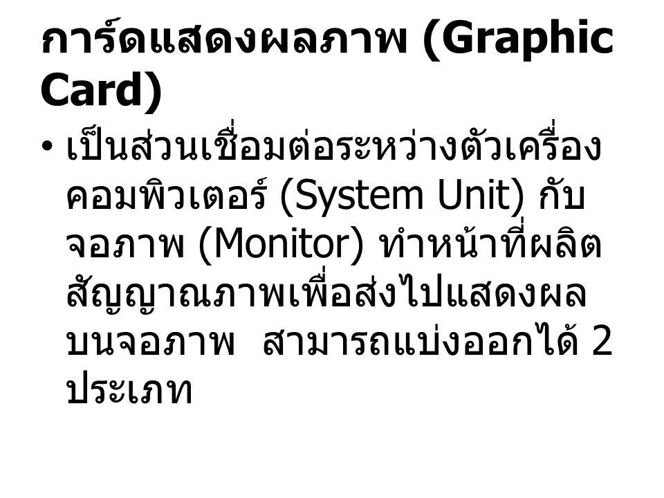 การ์ดแสดงผลภาพ (Graphic Card) เป็นส่วนเชื่อมต่อระหว่างตัวเครื่อง คอมพิวเตอร์ (System Unit) กับ จอภาพ (Monitor) ทำหน้าที่ผลิต สัญญาณภาพเพื่อส่งไปแสดงผล