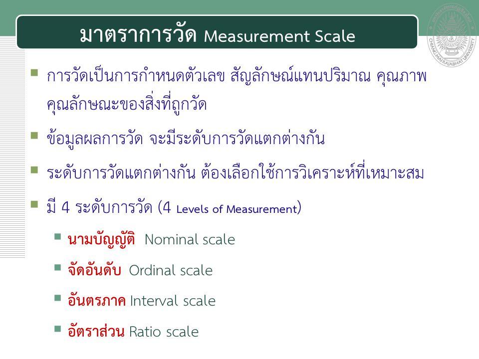 เอกสารประกอบการสอน มาตราการวัด Measurement Scale  การวัดเป็นการกำหนดตัวเลข สัญลักษณ์แทนปริมาณ คุณภาพ คุณลักษณะของสิ่งที่ถูกวัด  ข้อมูลผลการวัด จะมีร