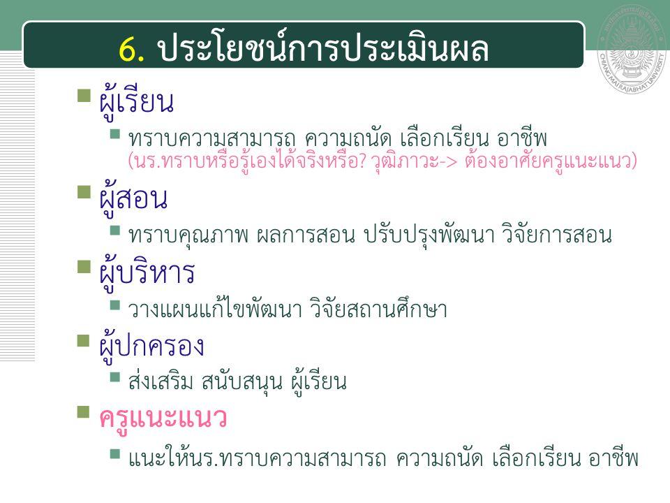 เอกสารประกอบการสอน 6. ประโยชน์การประเมินผล 1) การประเมินผลมีประโยชน์ต่อผู้เรียน 2) การประเมินผลมีประโยชน์ต่อผู้สอน 3) การประเมินผลมีประโยชน์ต่อผู้บริห