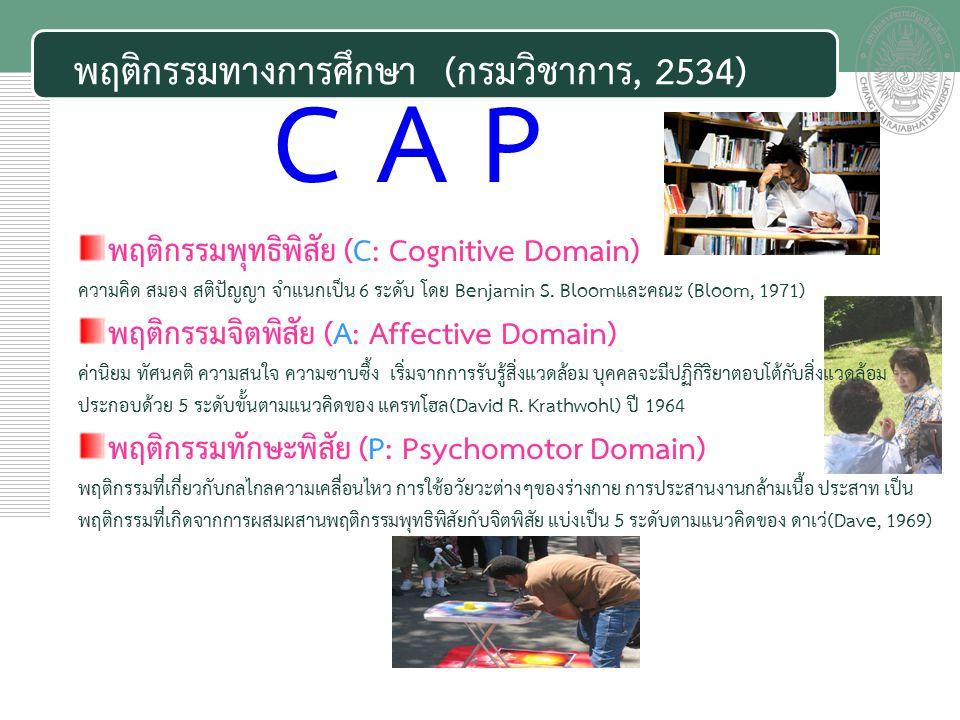 เอกสารประกอบการสอน พฤติกรรมทางการศึกษา (กรมวิชาการ, 2534) พฤติกรรมพุทธิพิสัย (C: Cognitive Domain) ความคิด สมอง สติปัญญา จำแนกเป็น 6 ระดับ โดย Benjamin S.