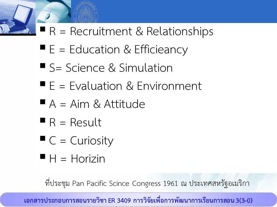 เอกสารประกอบการสอนรายวิชา ER 3409 การวิจัยเพื่อการพัฒนาการเรียนการสอน 3(3-0) ที่ประชุม Pan Pacific Scince Congress 1961 ณ ประเทศสหรัฐอเมริกา  R = Rec