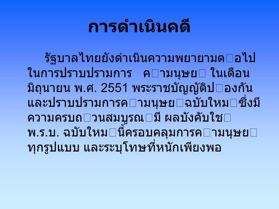 การคุมครอง รัฐบาลไทยยังคงใหการคุมครองอยาง ดีตอชาวตางชาติและชาวไทยที่ตกเป นเหยื่อของการคามนุษยในไทย และเหยื่อ ชาวไทยที่ตกเปนเหยื่อของการคามนุษย ในตางประเทศ รัฐบาลเพิ่มจํานวนสถาน พัก พิงชั่วคราวสําหรับเหยื่อคามนุษยจาก 99 แหงเปน 138 แหง โดยแตละจังหวัดจะ มีสถานพักพิง ชั่วคราว 1 แหงเปนอยางน อย