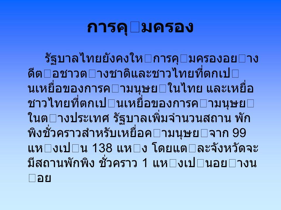 การคุมครอง รัฐบาลไทยยังคงใหการคุมครองอยาง ดีตอชาวตางชาติและชาวไทยที่ตกเป นเหยื่อของการคามนุษยในไทย และเหยื่อ ชาวไทยที่ตกเปนเหยื่อของการคามน