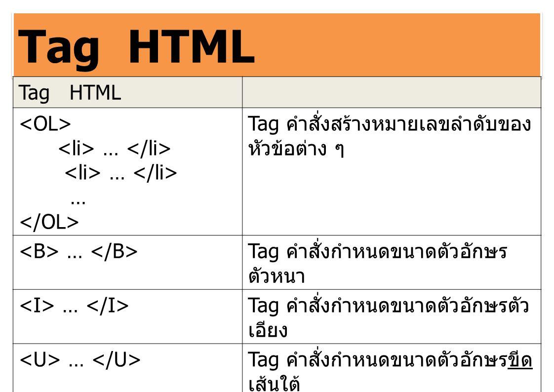 Tag HTML … Tag คำสั่งสร้างหมายเลขลำดับของ หัวข้อต่าง ๆ … Tag คำสั่งกำหนดขนาดตัวอักษร ตัวหนา … Tag คำสั่งกำหนดขนาดตัวอักษรตัว เอียง … Tag คำสั่งกำหนดขน