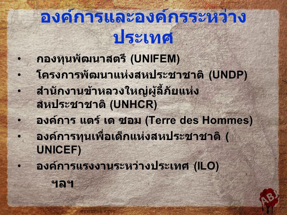 องค์การและองค์กรระหว่าง ประเทศ กองทุนพัฒนาสตรี (UNIFEM) โครงการพัฒนาแห่งสหประชาชาติ (UNDP) สำนักงานข้าหลวงใหญ่ผู้ลี้ภัยแห่ง สหประชาชาติ (UNHCR) องค์การ แตร์ เด ซอม (Terre des Hommes) องค์การทุนเพื่อเด็กแห่งสหประชาชาติ ( UNICEF) องค์การแรงงานระหว่างประเทศ (ILO) ฯลฯ