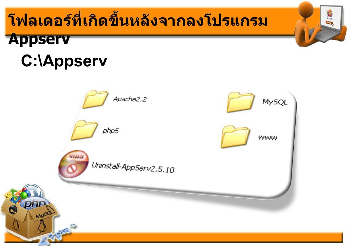 โฟลเดอร์ที่เกิดขึ้นหลังจากลงโปรแกรม Appserv C:\Appserv
