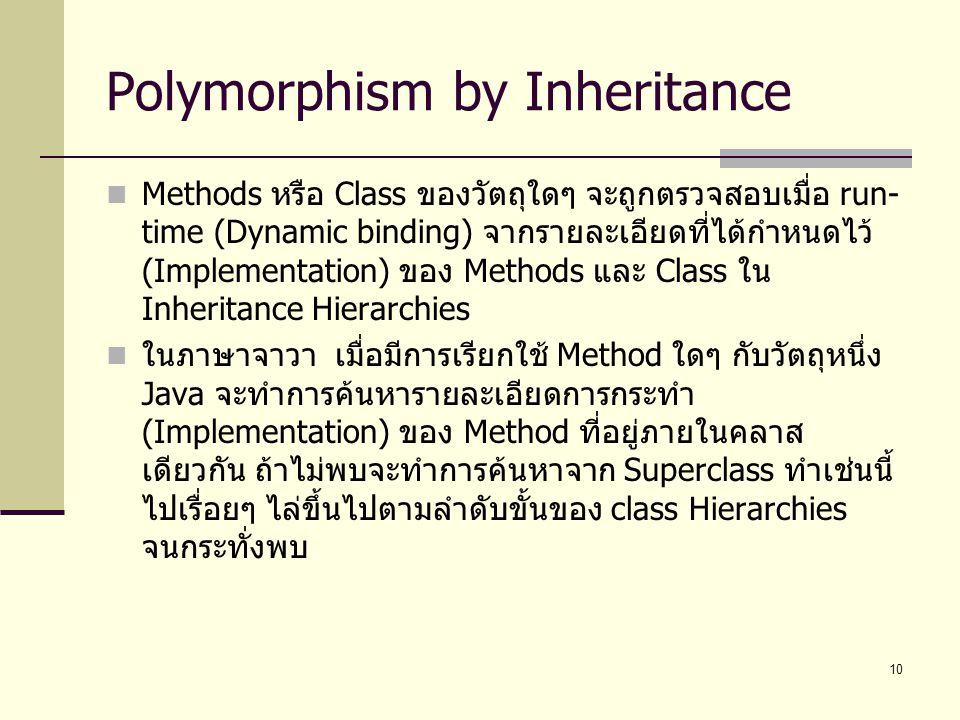 10 Polymorphism by Inheritance Methods หรือ Class ของวัตถุใดๆ จะถูกตรวจสอบเมื่อ run- time (Dynamic binding) จากรายละเอียดที่ได้กำหนดไว้ (Implementatio