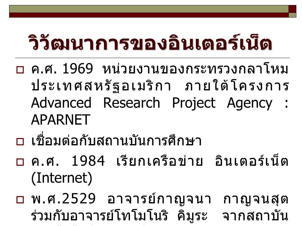 วิวัฒนาการของอินเตอร์เน็ต  ค. ศ. 1969 หน่วยงานของกระทรวงกลาโหม ประเทศสหรัฐอเมริกา ภายใต้โครงการ Advanced Research Project Agency : APARNET  เชื่อมต่