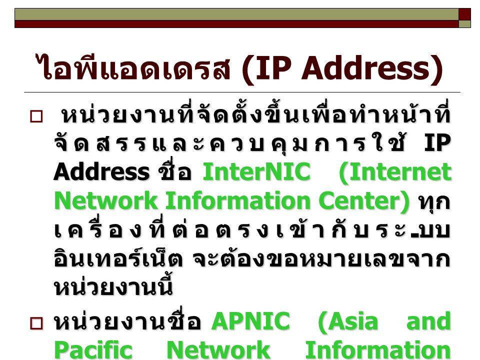 ไอพีแอดเดรส (IP Address) หน่วยงานที่จัดตั้งขึ้นเพื่อทำหน้าที่ จัดสรรและควบคุมการใช้ IP Address ชื่อ InterNIC (Internet Network Information Center) ทุก