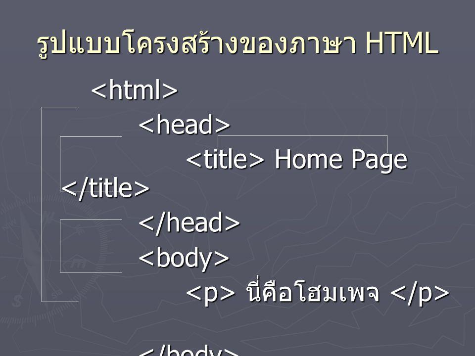 รูปแบบโครงสร้างของภาษา HTML <html><head> Home Page Home Page </head><body> นี่คือโฮมเพจ นี่คือโฮมเพจ </body></html>