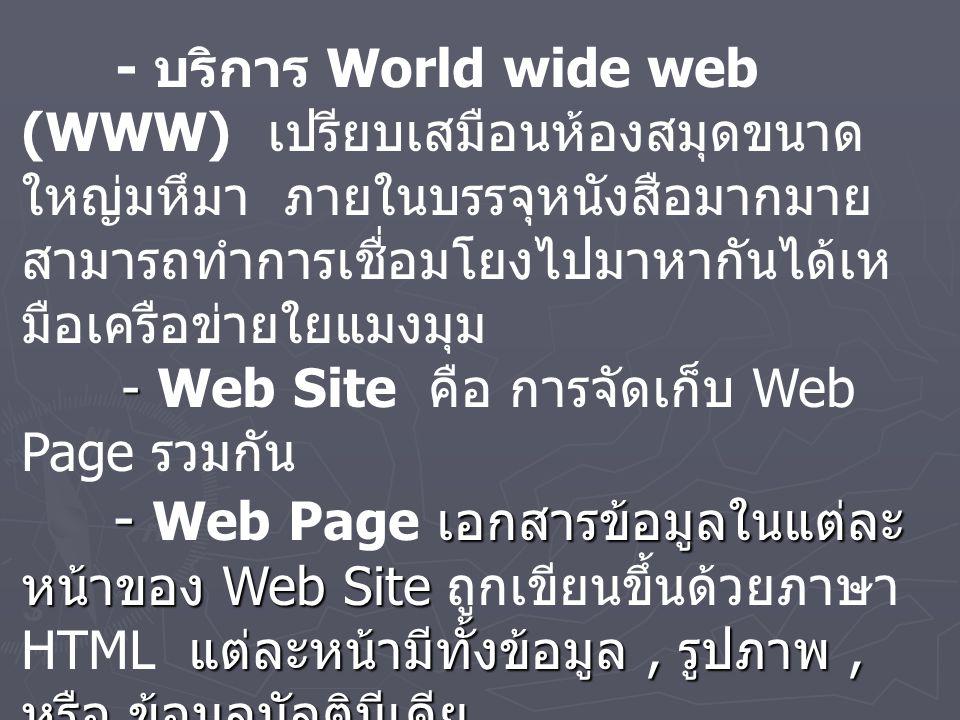 - - เอกสารข้อมูลในแต่ละ หน้าของ Web Site แต่ละหน้ามีทั้งข้อมูล, รูปภาพ, หรือ ข้อมูลมัลติมีเดีย - - เครื่องคอมพิวเตอร์ที่ ทำการบริการเว็บโดยจัดเก็บ Web Page รวมกัน - บริการ World wide web (WWW) เปรียบเสมือนห้องสมุดขนาด ใหญ่มหึมา ภายในบรรจุหนังสือมากมาย สามารถทำการเชื่อมโยงไปมาหากันได้เห มือเครือข่ายใยแมงมุม - Web Site คือ การจัดเก็บ Web Page รวมกัน - Web Page เอกสารข้อมูลในแต่ละ หน้าของ Web Site ถูกเขียนขึ้นด้วยภาษา HTML แต่ละหน้ามีทั้งข้อมูล, รูปภาพ, หรือ ข้อมูลมัลติมีเดีย - Home Page คือ หน้าแรกสุดของ Web Page - Web Server เครื่องคอมพิวเตอร์ที่ ทำการบริการเว็บโดยจัดเก็บ Web Page รวมกัน