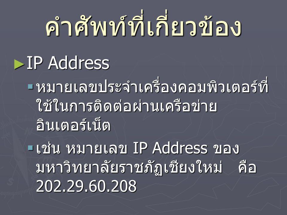 คำศัพท์ที่เกี่ยวข้อง ► IP Address  หมายเลขประจำเครื่องคอมพิวเตอร์ที่ ใช้ในการติดต่อผ่านเครือข่าย อินเตอร์เน็ต  เช่น หมายเลข IP Address ของ มหาวิทยาลัยราชภัฏเชียงใหม่ คือ 202.29.60.208