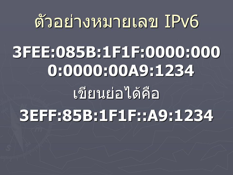 ตัวอย่างหมายเลข IPv6 3FEE:085B:1F1F:0000:000 0:0000:00A9:1234 เขียนย่อได้คือ3EFF:85B:1F1F::A9:1234