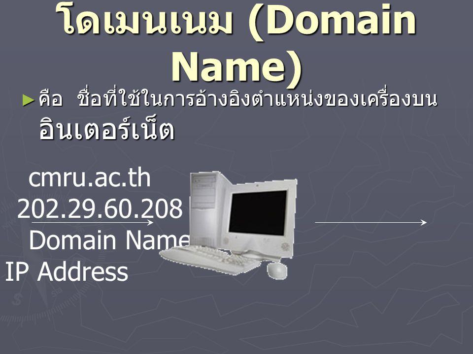 โดเมนเนม (Domain Name) ► คือ ชื่อที่ใช้ในการอ้างอิงตำแหน่งของเครื่องบน อินเตอร์เน็ต cmru.ac.th 202.29.60.208 Domain Name IP Address