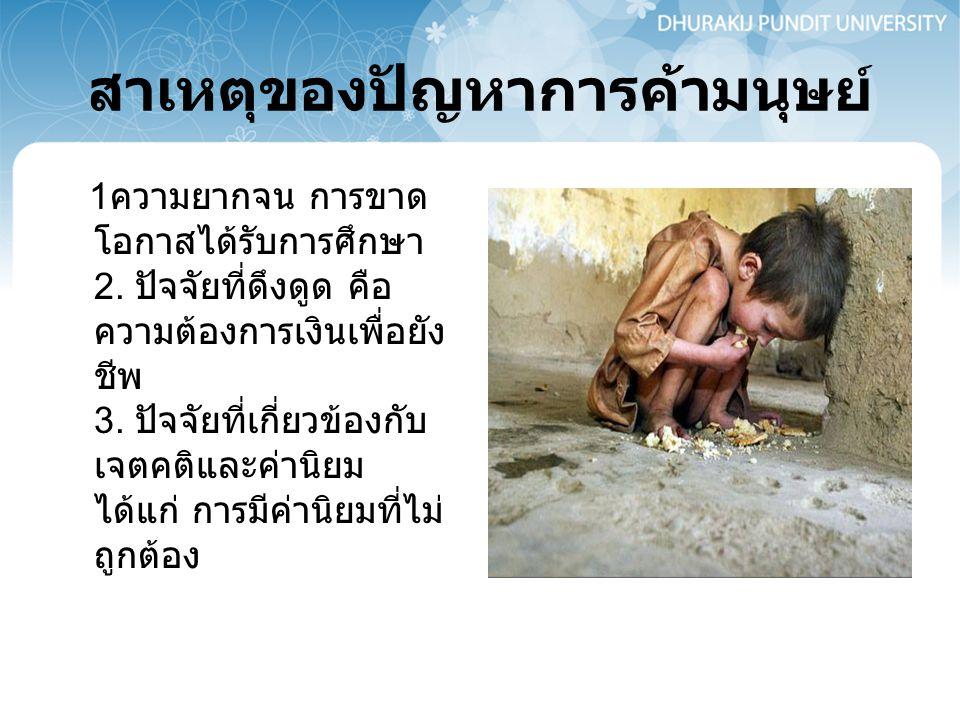 ผลกระทบของการค้ามนุษย์ ผู้คนนับแสนนับล้านคน โดยเฉพาะเด็กและสตรี ต้องถูกแสวงหา ประโยชน์และถูกละเมิด สิทธิมนุษยชนมากมาย สูญเสียและได้รับความ เสียหายทั้งร่างกายและ จิตใจ โอกาสและอนาคต ความปลอดภัยและความ มั่นคงของมนุษย์ รวมถึง เกิดความสูญเสียและ เสียหายต่อบุคคลรอบ ข้าง ชุมชน และสังคม ซึ่งอาจไม่สามารถ ประเมินมูลค่าได้เป็นตัว เงิน