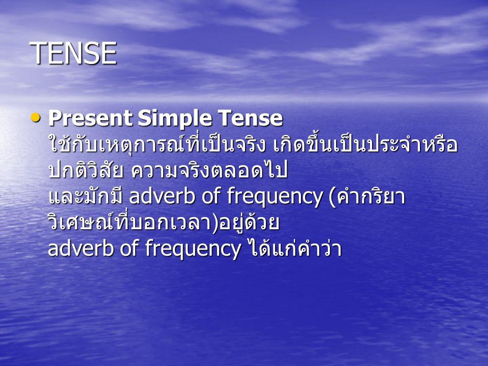 TENSE Present Simple Tense ใช้กับเหตุการณ์ที่เป็นจริง เกิดขึ้นเป็นประจำหรือ ปกติวิสัย ความจริงตลอดไป และมักมี adverb of frequency ( คำกริยา วิเศษณ์ที่บอกเวลา ) อยู่ด้วย adverb of frequency ได้แก่คำว่า Present Simple Tense ใช้กับเหตุการณ์ที่เป็นจริง เกิดขึ้นเป็นประจำหรือ ปกติวิสัย ความจริงตลอดไป และมักมี adverb of frequency ( คำกริยา วิเศษณ์ที่บอกเวลา ) อยู่ด้วย adverb of frequency ได้แก่คำว่า