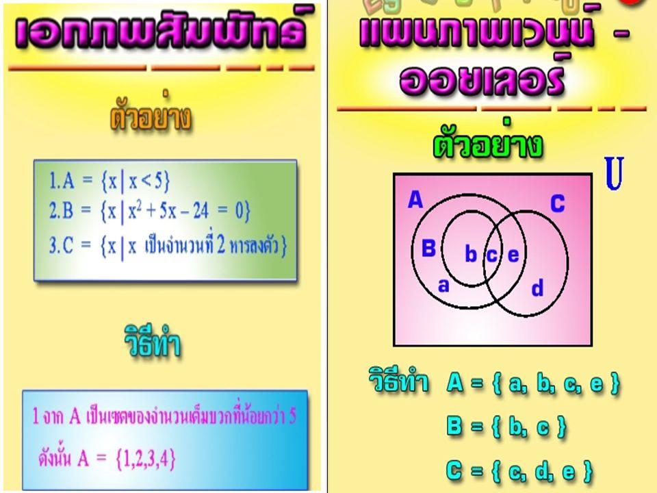 A B U 1 2 34 56 7 8 c 1.A-B={……….} 2.A-C={……….} 3.B-C={……….} 4.A-B-C={………} 5.(A-B)-C={……..} 6.A={…………..} 7.C={…………….} 8.(B  C)={……………….} 9.(A  B  C)={……………} 10.{(A  B)  C}={……….} - ตัวที่ เหมือนกัน A นอก A