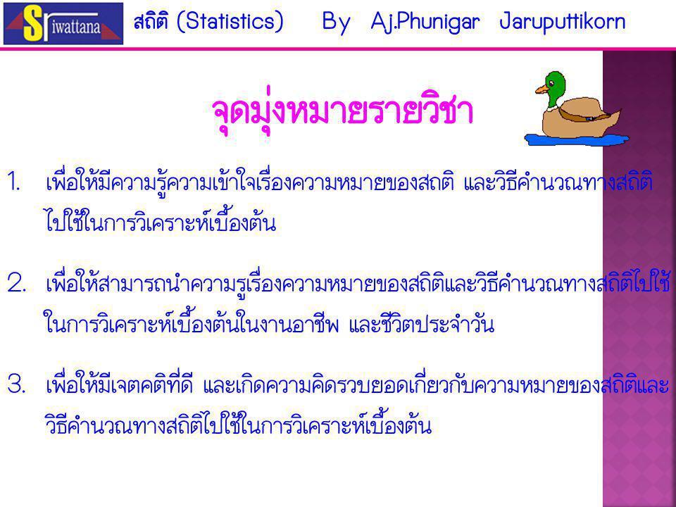 สถิติ (Statistics) By Aj.Phunigar Jaruputtikorn 0839893199 ภาควิชาบริหารธุรกิจทั่วไป อาคาร 18 ชั้น 5