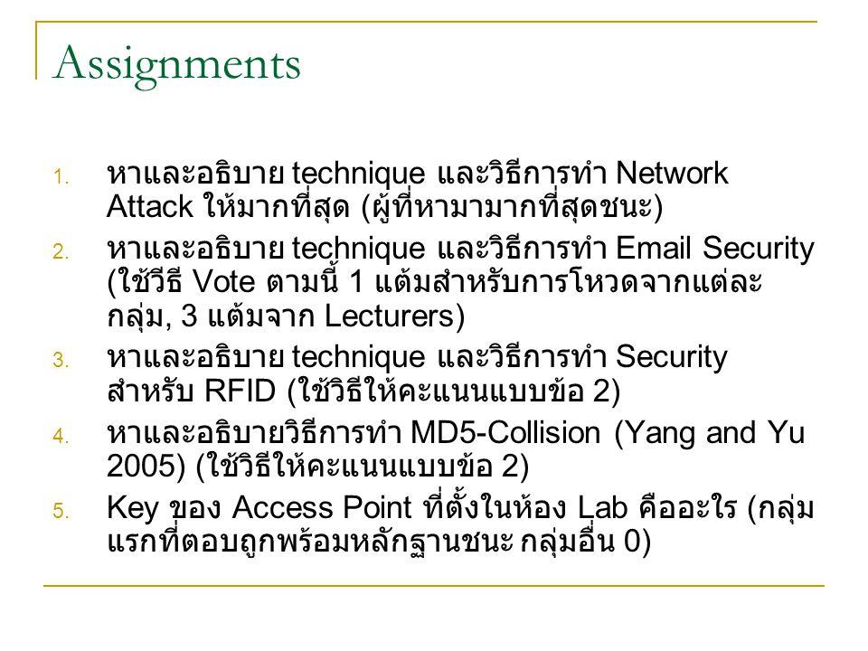 Assignments 1. หาและอธิบาย technique และวิธีการทำ Network Attack ให้มากที่สุด ( ผู้ที่หามามากที่สุดชนะ ) 2. หาและอธิบาย technique และวิธีการทำ Email S