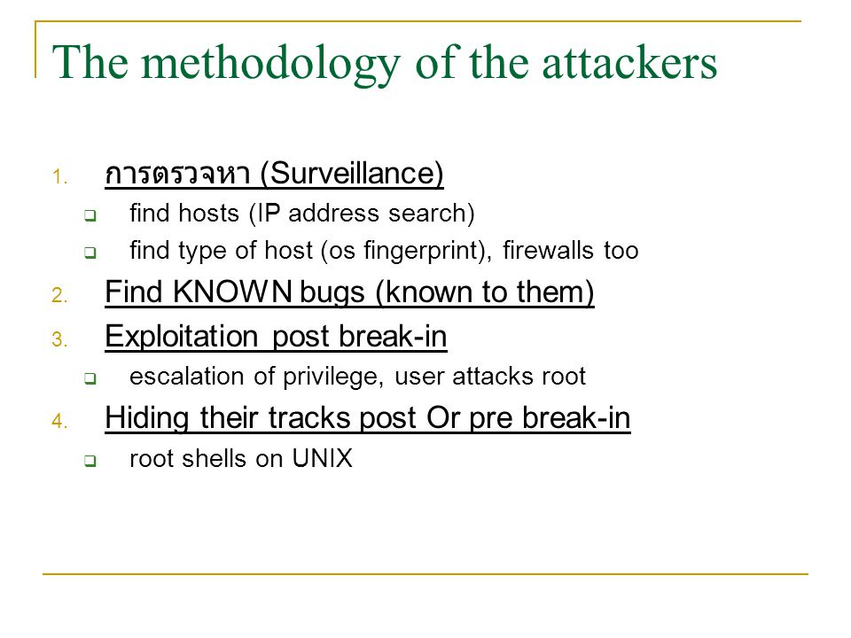 The methodology of the attackers 1.