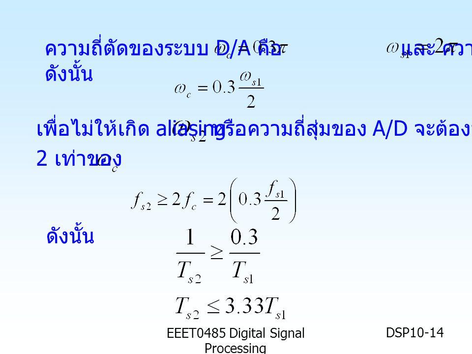 EEET0485 Digital Signal Processing DSP10-14 ความถี่ตัดของระบบ D/A คือ และ ความถี่สุ่ม ดังนั้น หรือความถี่สุ่มของ A/D จะต้องมากกว่า ดังนั้น เพื่อไม่ให้เกิด aliasing 2 เท่าของ