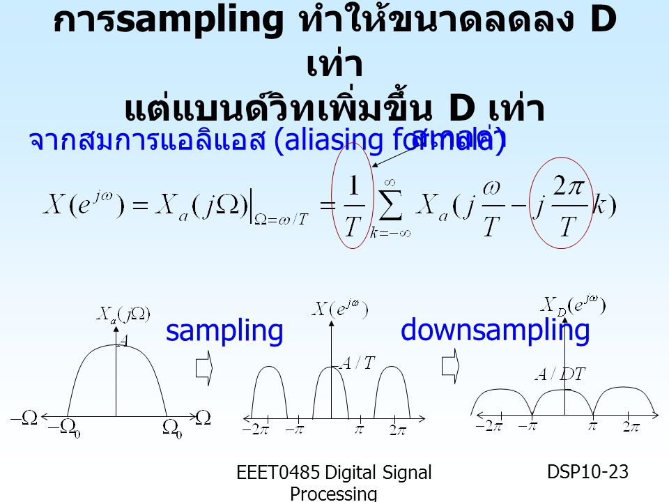 EEET0485 Digital Signal Processing DSP10-23 การ sampling ทำให้ขนาดลดลง D เท่า แต่แบนด์วิทเพิ่มขึ้น D เท่า จากสมการแอลิแอส (aliasing formula) สเกลค่า downsampling sampling