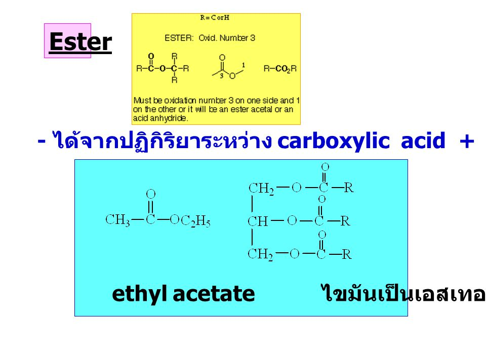 Ester - ได้จากปฏิกิริยาระหว่าง carboxylic acid + alcohol, มีกลิ่นเฉพาะตัว ethyl acetate ไขมันเป็นเอสเทอร์